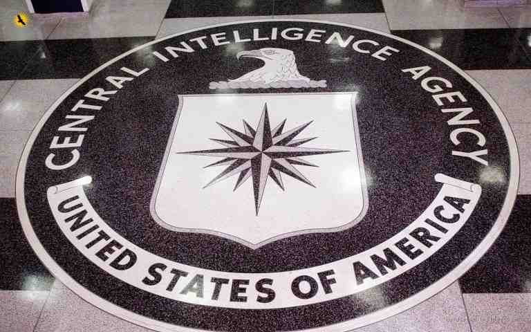 UNITED STATES - MARCH 03:  The seal of the Central Intelligence Agency, on the floor of the foyer at the CIA Headquarters, in Langley, VA is shown in a photo taken Thursday, March 3, 2005.  (Photo by Dennis Brack/Bloomberg via Getty Images)