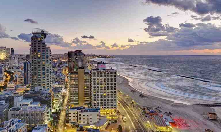 Tel Aviv city skyline and beachfront
