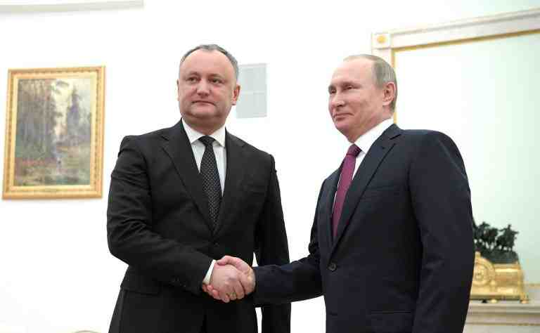 January 17, 2017. - Russia, Moscow. - Russian President Vladimir Putin meets with Moldovan President Igor Dodon (left) in the Kremlin.