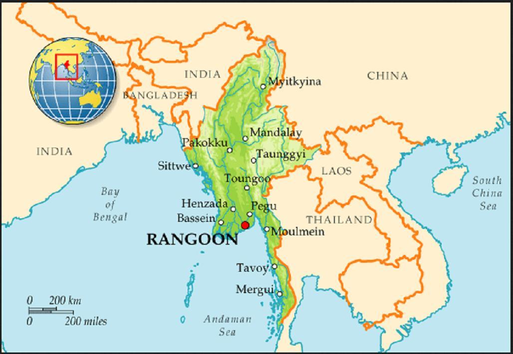 Где на карте находится бирма