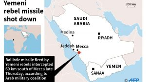 Арабская коалиция сообщила о перехвате баллистической ракеты наделеко от Мекки
