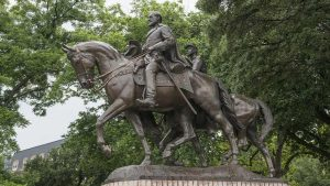 This statue of Confederate Gral. Robert E. Lee was vandalized in Dallas in August 19th.