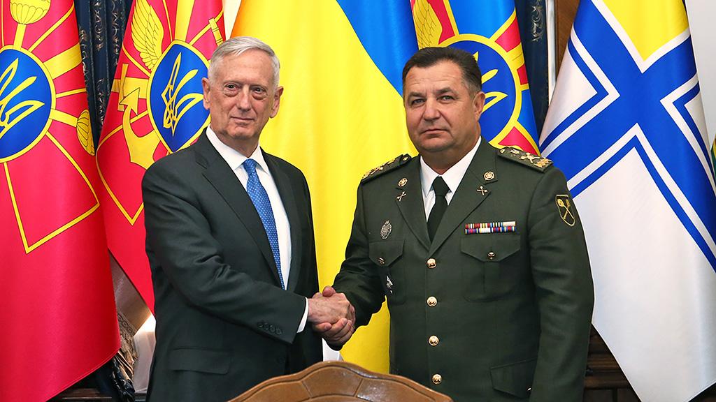 Руководитель Пентагона навстрече сПолтораком презентовал знание слов изгимна Украинского государства