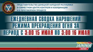 Ежедневная сводка нарушений режима прекращения огня 16 июля