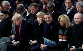 макрон меркель трамп путин в париже