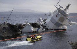 затонул норвежский фрегат Helge Ingstad