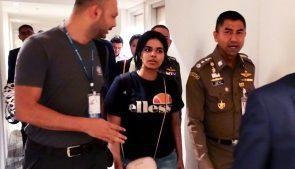 саудовская беженка Рахаф Аль-Кунун, представитель ООН и полиции Таиланда