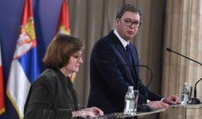 Министр по европейским делам в правительстве Франции Натали Луазо и презиедент Сербии Александар Вучич