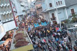 Эквадор, митинг против президента Ленина Морено и в поддержку Ассанжа