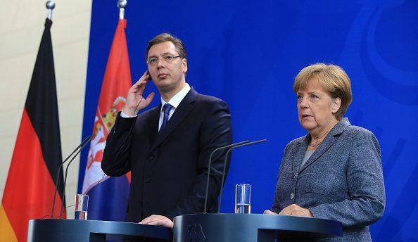 президент Сербии Александар Вучич в Берлина, Ангела Меркель канцлер ФРГ, переговоры