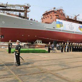 На Украине горит разведывательный корабль ВСУ