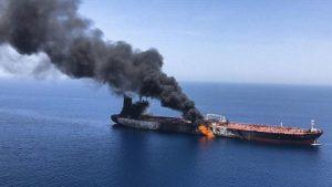 атакованный в Оманском заливе нефтяной танкер