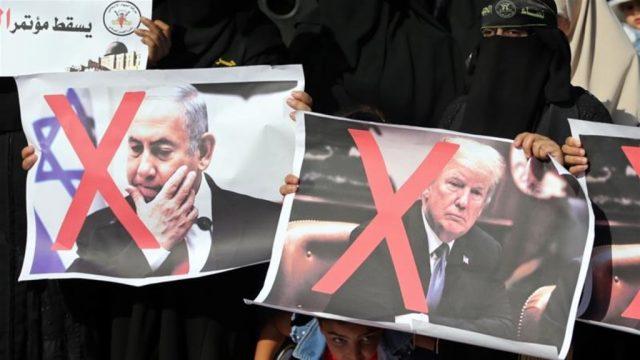 палестинский протест против форума в Бахрейне, созванного по инициативе США и Израиля