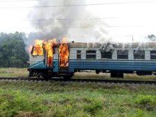 Винницкую горящую электричку с пассажирами тушить было нечем
