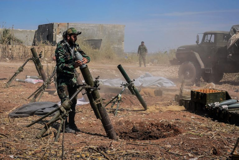 epa07563360 A handout photo made available by the Syrian Arab News Agency (SANA), shows a Syrian army soldier prepares to target terrorists' area, during an operation to liberate the village of Kafar Naboudeh, in Hama, Syria, 11 May 2019. According to SANA, the liberation of the town was achieved following precise and accurate operations targeting the terrorists' positions in the town, paving the way for expanding the secure area in Hama's northern countryside to include al-Bana, al-Arima, Tel Othman, Qalaat al-Madiq, and Bab al-Taqa.  EPA-EFE/SANA HANDOUT  HANDOUT EDITORIAL USE ONLY/NO SALES