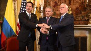 Венесуэльский оппозиционер Хуан Гуайдо, президент Колумбии Иван Дуке и вице-президент США Майк Пенс