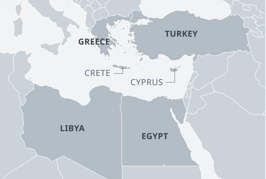 Ливия и Турция на карте