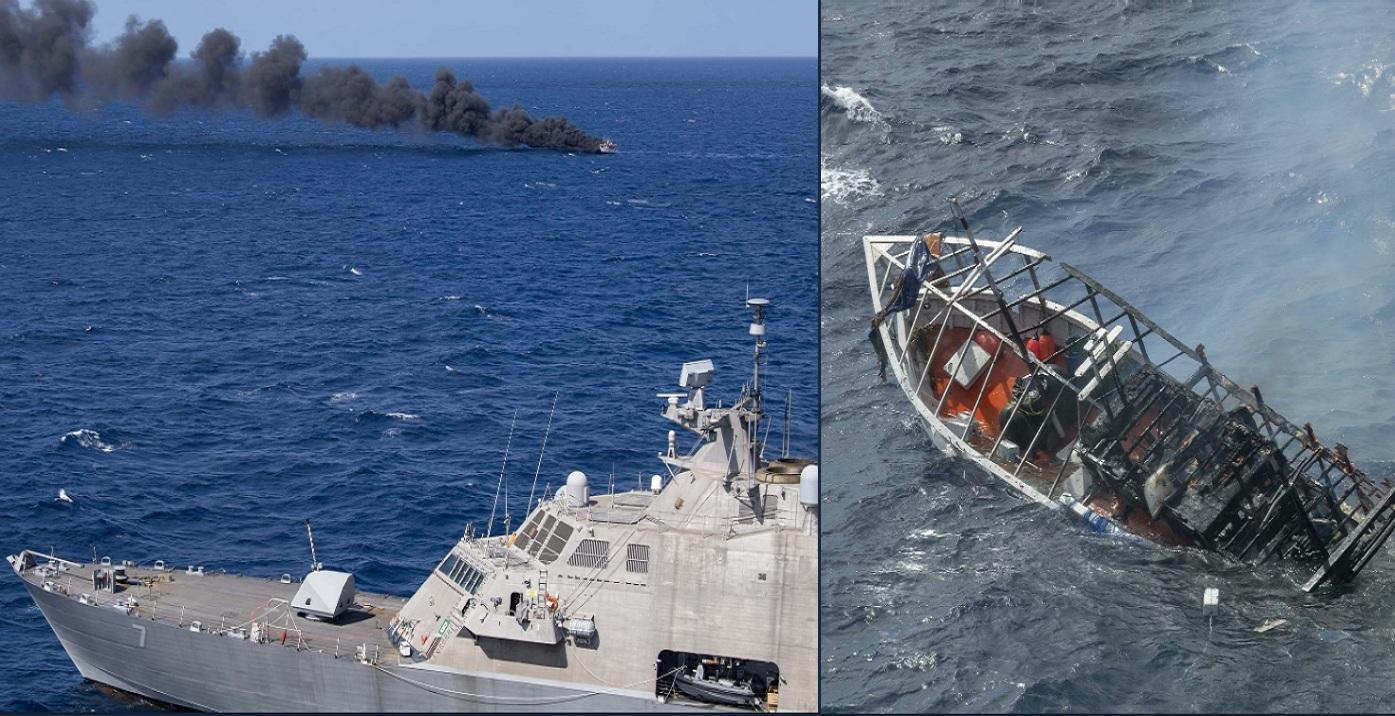 военные США затопили брошенное  в Атлантике судно