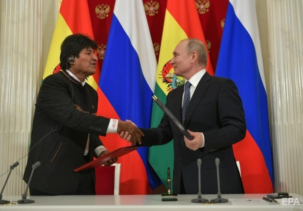 Эво Моралес и Владимир Путин