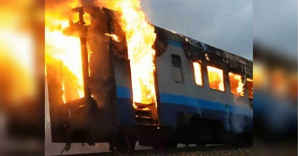 Огненное начало: Тепловоз сгорел дотла в Николаевской области