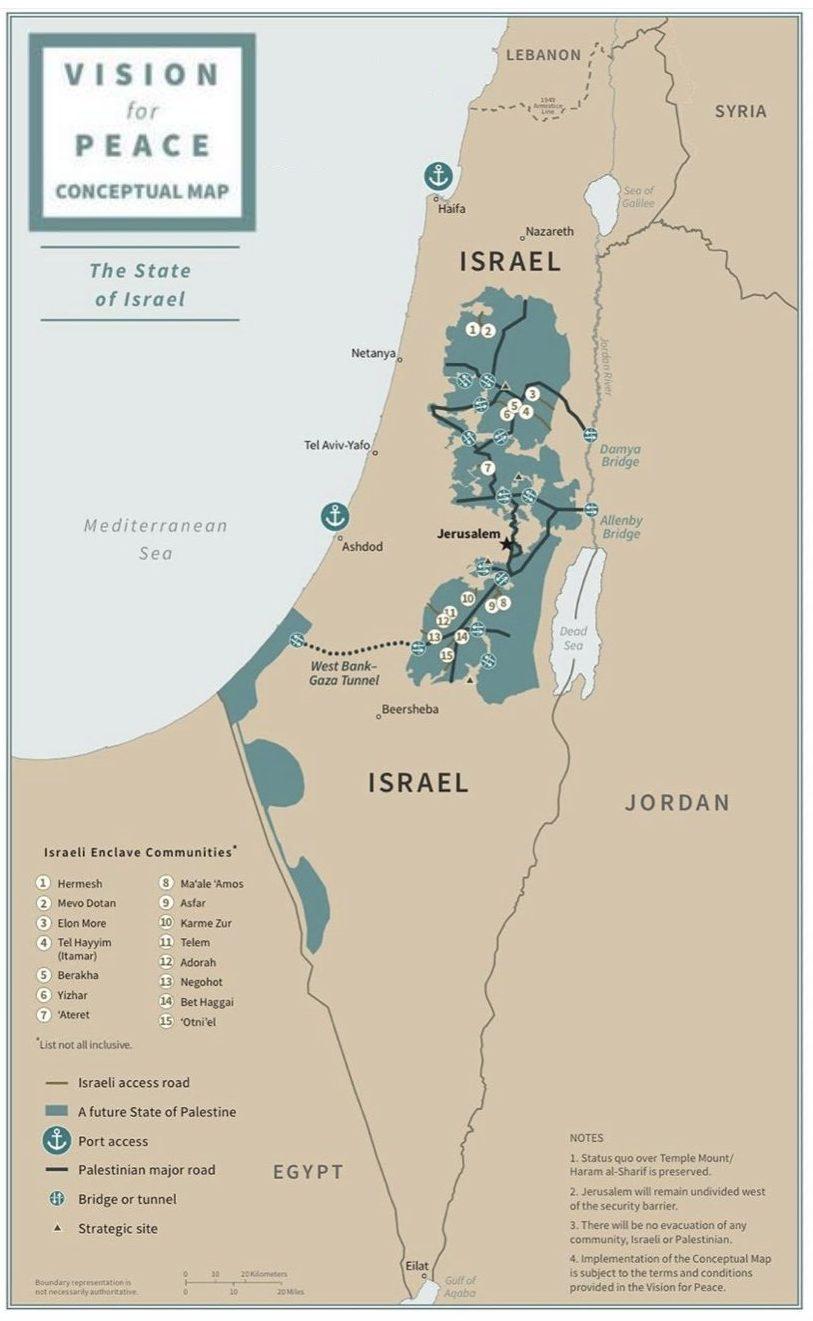 карта Израиля и Палестины из плана Трампа
