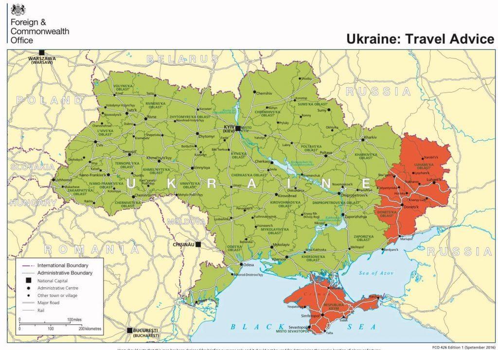 Зрадища: Посольство Британии вывесило карту Руины без Крыма и Донбасса