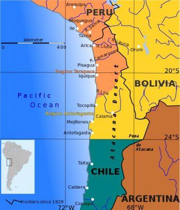 Границы между Перу, Боливией и Чили до и после Тихоокеанской войны