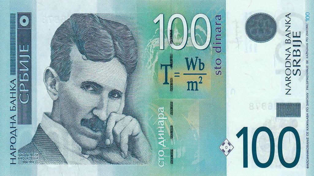 купюра в 100 сербскихдинаров с Николой Тесла
