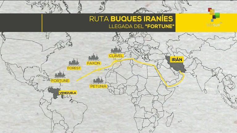 маршрут пяти иранских танкеров в Венесуэлу