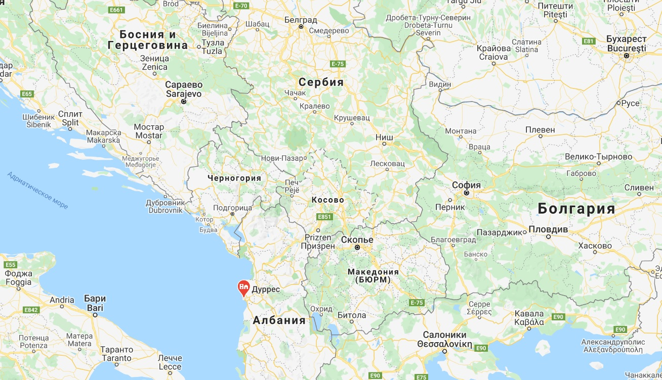 Дуррес на карте Европы