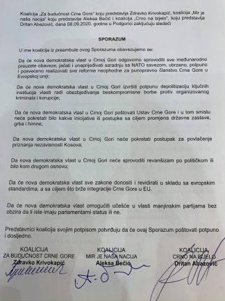 Сформировавшие коалицию партии полписали правительственное соглашение Черногории