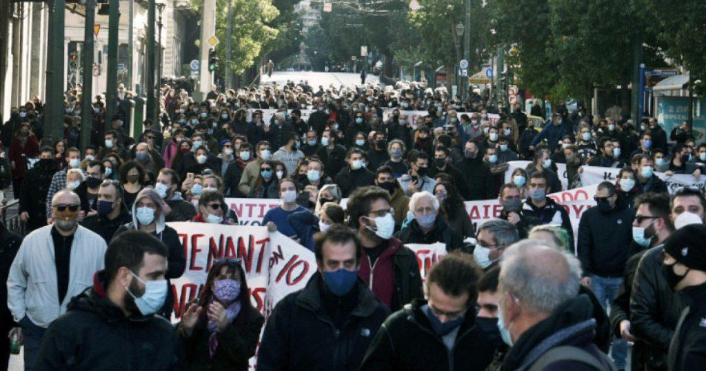 Протесты в центре Афин прошли вопреки санитарным протоколам