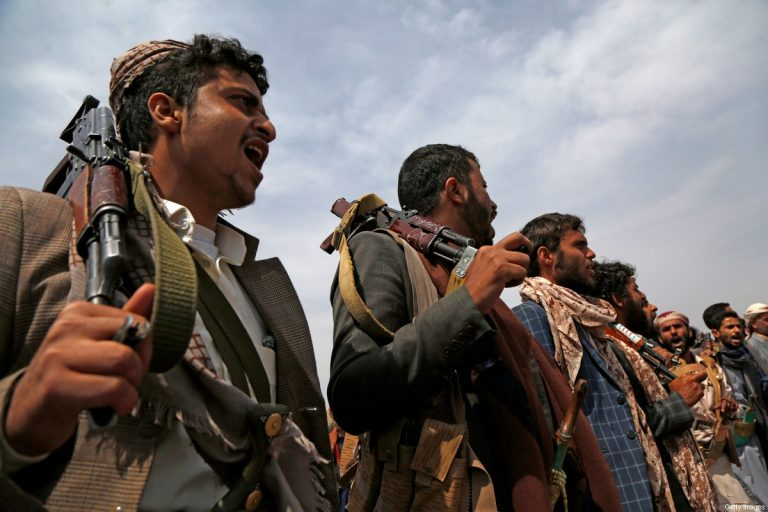 SANA'A, YEMEN - JULY 08: Tribesmen loyal to the Houthi group chant slogans during an armed tribal gathering on July 08, 2020 on the outskirts of Sana'a, Yemen. Yemen, one of the Arab world's poorest countries, has been devastated by war since 2015, when the Saudi-led coalition intervened militarily against the Houthi group who seized most of Yemen's northern lands including the capital Sana'a and forced the Internationally Recognized government of the president Abd Rabbu Mansour Hadi into exile. The situation in Yemen has become one of the world's worst humanitarian crises after the five-year war and blockade where two-thirds of the country's 28-million population is at risk of starvation. (Photo by Mohammed Hamoud/Getty Images)