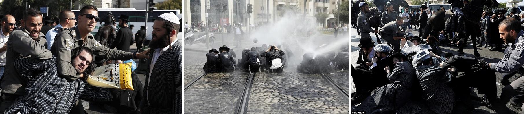 израильская полиция разгоняет ультраортодоксальных вреев