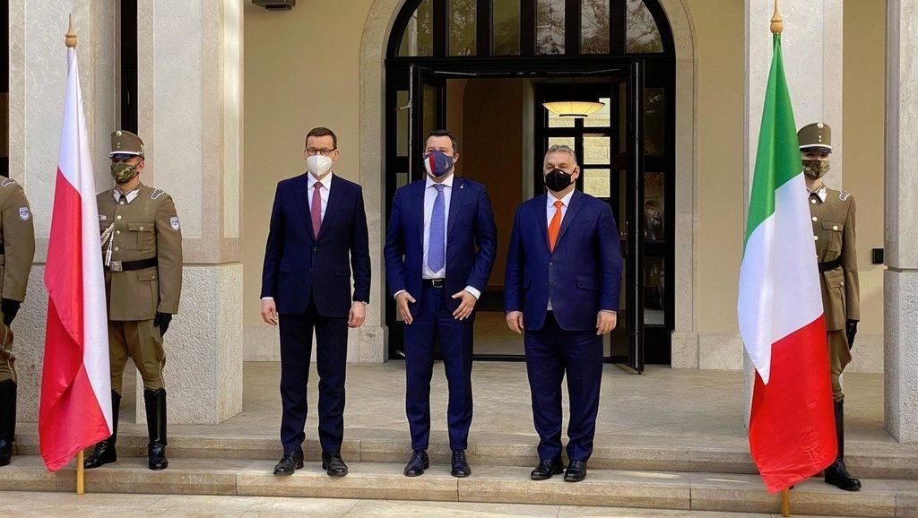 Матеуш Моравецки, Маттео Сальвини и Виктор Орбан, встреча 1,04,2021