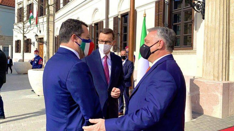 Матеуш Моравецки, Маттео Сальвини и Виктор Орбан, встреча 1.04.2021