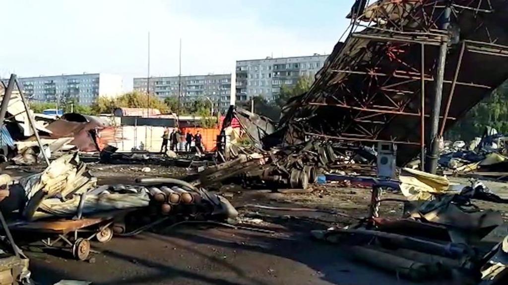 место взрыва и пожара на АЗС в Новосибирске